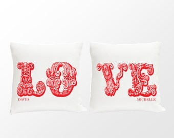 Personalized Throw Pillow Set - Couples Personalized Pillows - Valentines Pillow Set - NEW! (1131)