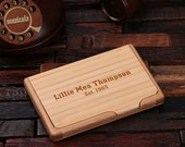 Personalized Wood Engraved Business Card Holder Graduation, Christmas Holiday Gift Him and Her (024272)