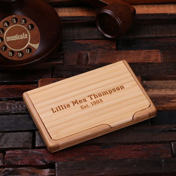 Personalized Wood Engraved Business Card Holder Graduation
