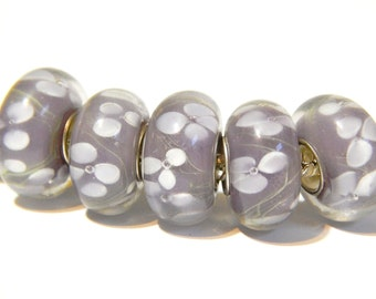 CLEARANCE 1x Murano Bead - Lavender With White Flowers - Lampwork Glass - Large Hole - Fits European - A85