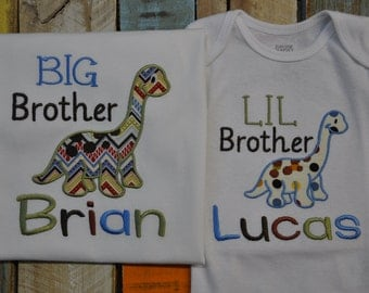 Little Brother, Big Brother Dinosaur Sibling Shirts!