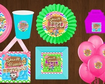 Sheriff Callie Birthday Party Rainbow Printables, Chevron, Cupcake Toppers, Sheriff Callie Party Pack, Door Sign, - YOU PRINT
