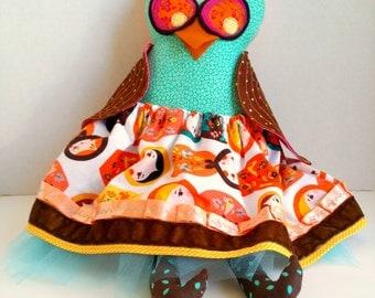 Stuffed owl doll, Plush girl owl, Orange teal brown, Cloth owl rag doll, Matryoshka owl, Woodland owl toy, Nursery decoration, Fabric softie