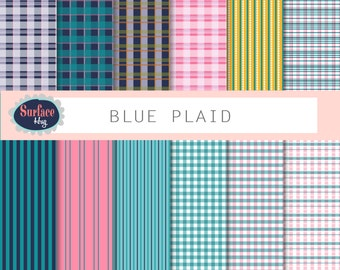 Digital gingham paper BLUE PLAID background paper tablecloth paper pink plaid paper, blue plaid, blue gingham background paper Digital plaid