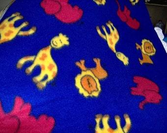 SALE LionElephantGiraffe Fleece Twin Blanket