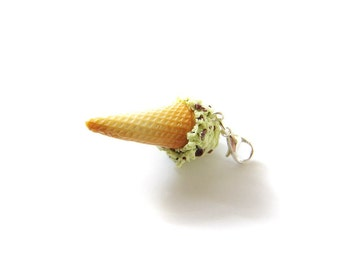 Mint Chip Ice Cream Charm, Miniature Food Jewelry, Polymer Clay Food Charm, Ice Cream Necklace