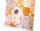 White Shadowbox Shelf with Textile Flowers and Bee ~  Silk Wall Art Reclaimed Salvaged Bumble Bee Yellow Cream Decor Small Shelf with Hooks