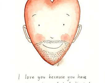 Beard love, A5 giclee print