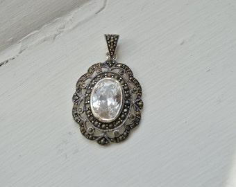 Vintage Art Deco Pendant  - Marcasite Necklace - Cubic Zirconia Pendant - Vintage Silver Necklace - Bridesmaid Gift