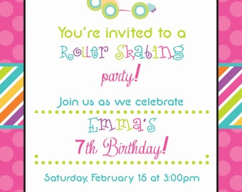 Rainbow Stripes and Pink Polka Dots Rollerskate Invitation