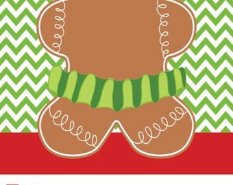 Green Chevron with Gingergirl Christmas Gift Tag
