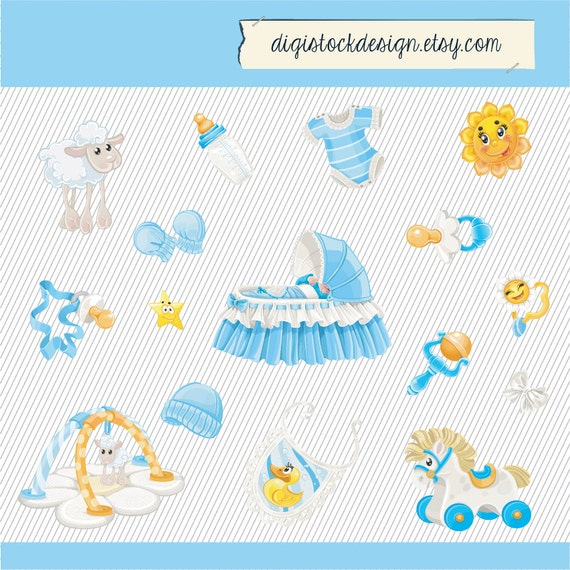Baby Clipart. Baby Boy Clipart. Baby Things Digital Images. Newborn Clipart. Baby Boy Blue Illustration 257