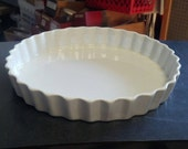 Vintage French White Porcelain Tart Dish - 10 inches in overall diameter - 9-1/2 inches inside diameter - measured across the top.