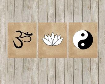 8x10 Namaste Set Art, Om Lotus and Yin Yang, Yoga Studio Art, Wall Printable, Zen Prints, Yoga Poster, Home Decor, Instant Digital Download