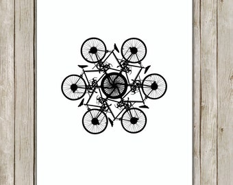 8x10 Bicycle Circle Art Print, Modern Printable, Black Art, Office Decor, Nursery Art, Home Decor, Bike Poster, Instant Digital Download