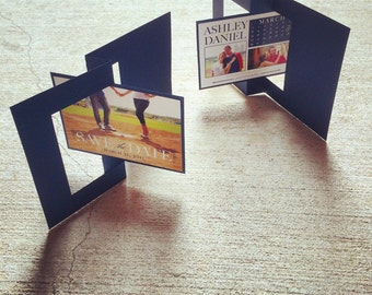 5x7 Navy Blue and Lime Green Twist Card Save The Date with Multiple Photos and Calendar