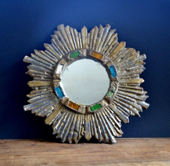 Adorable miroir soleil tain mosaique vintage fran ais 1940s for Miroir francais
