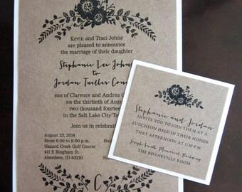 100 (quantity) Kraft and Ivory Floral Wedding Invitations