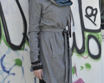 Reversible wrap belted coat, asymmetric gray jacket