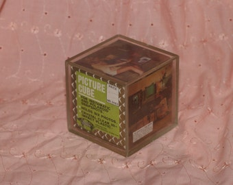 Vintage Photo Cube, Picture Block, Frame