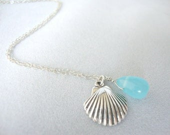 Aqua Blue Chalcedony Sterling Silver Shell Necklace - Handmade Jewelry - Everyday Summer Necklace - Bridesmaid Necklace - Minimalist Jewelry