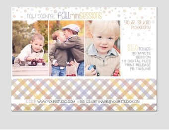 Mini Session Postcard - Photography Template - Flyer - Fall - Autumn - Kids - Minis - Photoshop - Elements - Easy - 5x7