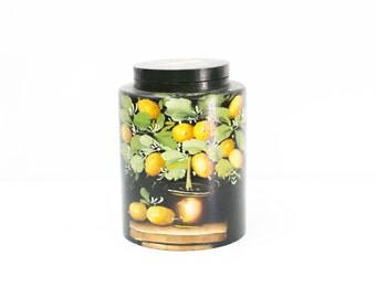 Paper Mache Hand Painted Lemon Canister with Lid