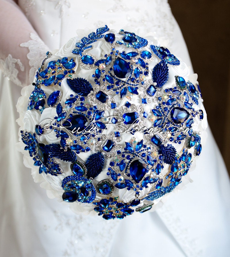 Royal Blue Wedding Brooch Bouquet. Royal Blue By Rubybloomscom