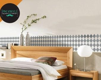 Diamond Seamless Pattern Tiles, Set of 4 Vinyl Wall Decals - TIL010