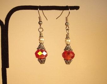 Red Crystal Earrings, Faceted Crystal Earrings, Round Earrings, Silver Earrings, Vintage Earrings, Red Round Earrings