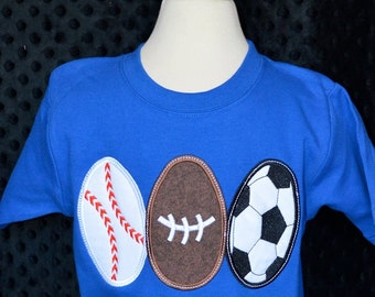 Personalized Easter Sports Eggs Applique Shirt or Onesie Girl or Boy