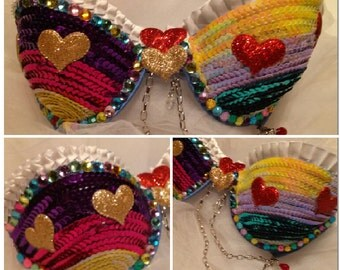 SALE 34A - Rainbow Heart Rave Bra with matching colorful headband
