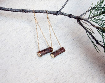 Christmas Wood Earrings. Natural Pine wood Earrings with gold foil. Gold color chain. Eco friendly Handmade for Nature lovers