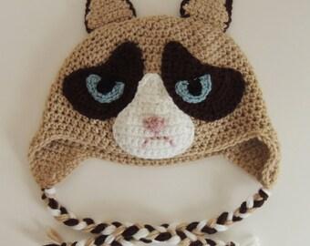 Grumpy Cat Crochet Hat Pattern Free : Crochet Grumpy Cat Hat galleryhip.com - The Hippest ...