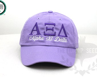 Alpha Xi Delta Sorority Baseball Cap - Custom Color Hat and Embroidery.