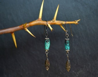 African Turquoise feather earrings