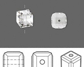5601 Swarovski Cube Bead - 6 MM - Crystal Clear - 10 PCS - Vintage swarovski Cubes - Wholesale Pricing - Lowest Pricing, Ships quickly!