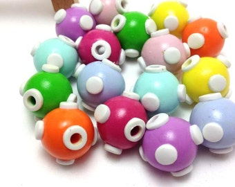 Beads, Clay Beads, Jewelry Supplies, Cute Beads, Colorful Beads, Round Beads, DIY Jewelry, Unique Beads, Handmade Jewelry, Packs of 10 & 20