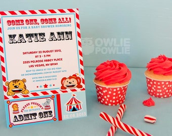 Circus BABY Shower Printable 5 x 7 inch Invitation, INSTANT DOWNLOAD, You Edit Yourself with Adobe Reader