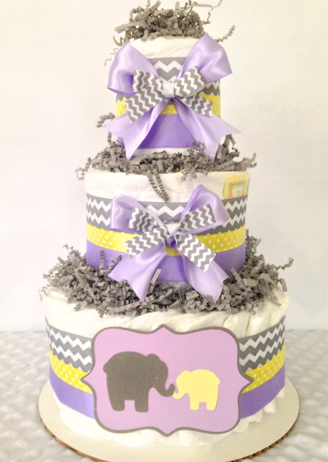Chevron Elephant Diaper Cake In Lavender, Gray And Yellow, Girl Baby Shower  Centerpiece
