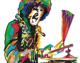 "Mitch Mitchell, The Jimi Hendrix Experience, Drummer, Drums, Acid Rock, POSTER from Original Drawing 18"" x 24"" Signed/Dated by Artist w/COA"