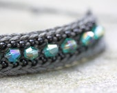 DARK ALLEY crocheted bracelet with teal AB crystal beads and black seed beads