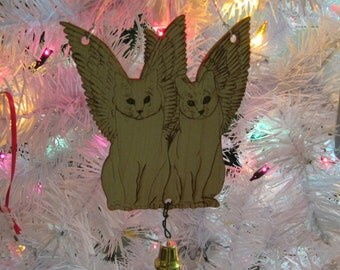 Cat Angels Ornament with Bell