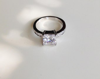 10KT White Gold Filled Cubic Zirconia Engagement & Wedding Ring
