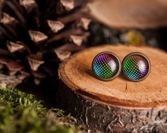 Tiny disco ball earrings, disco ball stud earrings, antique brass earrings, gun metal studs, post earrings, stud earrings, glass earrings