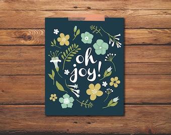 Oh Joy Poster, 8 X 10 Print, Chalkboard, Illustration, Floral, Wall Art, Home decor, digital poster