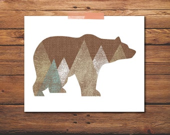 Animal Print - Bear Print - Mountain Print - Woodland Print - Wall Art - Nursery Art - Wall Art Decor - Nursery Print