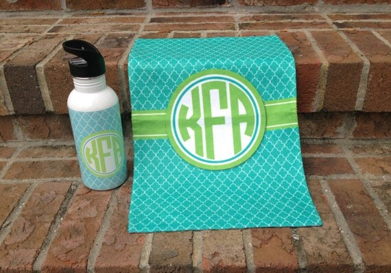 Matching Personalized Gym Towel and Water Bottle with Flip Straw Top - 20 oz - Perfect for the gym or beach - Design your own