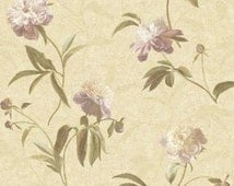 Large Purple Peonies On Soft Tan Faux Texture - Sponge Effect, Garden Floral and leaf - Wallpaper By The Yard - wallpaperyourworld - GN2424