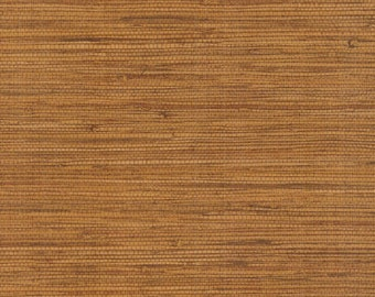 Warm Brown Grasscloth Wallpaper - W icker Look, Woven, Natural, Faux ...